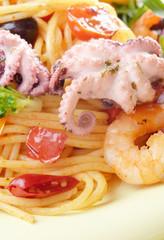 Seafood spaghetti marinara pasta macro photo