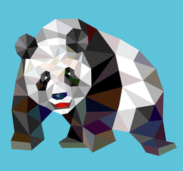 Panda triangle low polygon style