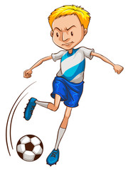 A simple coloured sketch of a soccer player