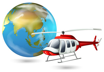 A helicopter and a globe