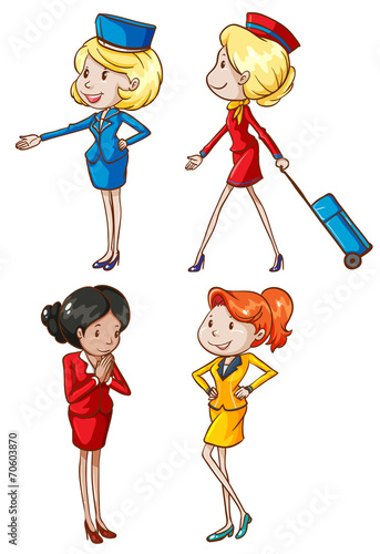 Simple sketches of an air hostess - 70603870