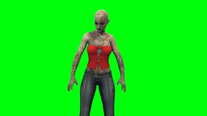 walking dead zombie girl reacts to environment green screen