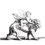 Cupid on a lion - 70604247