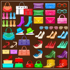 Set shoes, handbags and accessories
