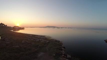 Lever de soleil sur létang de Thau