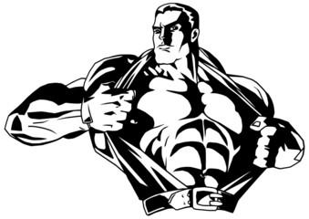 muscular bodybuilder rips shirt