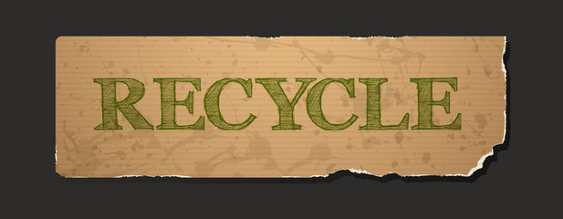 Recycle text on blank grunge recycled paper