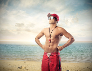 Attractive man at the beach