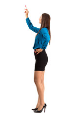 Business woman pointing with pencil side view