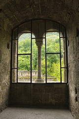 View from the window in a medieval castle