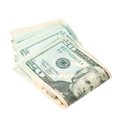 Stack of twenty dollars on white background.
