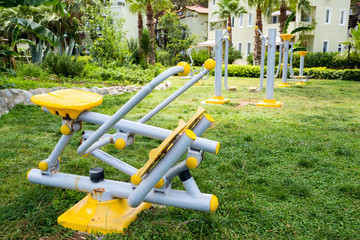 beautiful modern fitness equipment outdoors