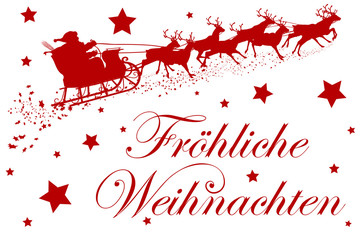 Fröhliche Weihnachten, Grußkarte, Rentiere, Weihnachtsmann, 2D