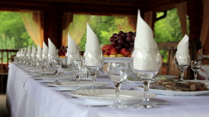 Beautifully served festive table.Served banquet table.