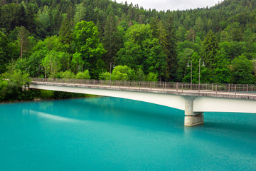 Turquoise water of Lech river in Bavarian Alps, Germany