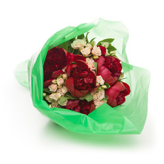 Wrapped peonies bouquet