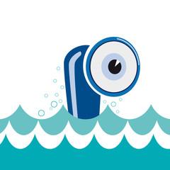 Vector logo cheerful submarine, curious eye
