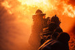 Leinwandbild Motiv Firefighters training