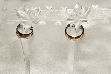 Wedding rings tied to pillow ring