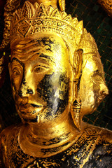 High contrast image of golden face buddha sculptures on the temp