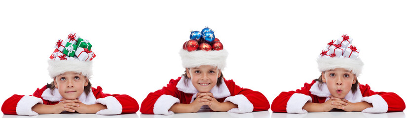 Christmas banner with kids wearing santa hats full of holidays i