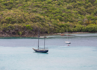 Old Blue Sailboat in Bay
