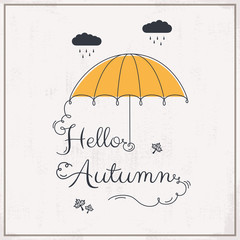 Hello Autumn background with typography