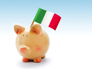 Piggy bank with national flag of Italy