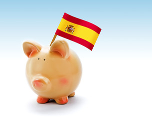 Piggy bank with national flag of Spain