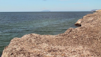 Mediterranean coast out of the dried seaweed. Sicily