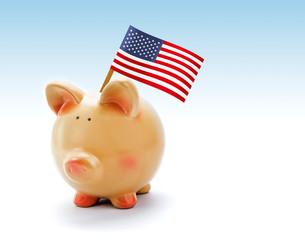 Piggy bank with national flag of USA