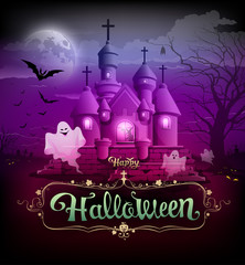 Happy halloween castle classic design on violet background,