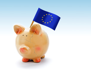 Piggy bank with cracks and flag of European Union