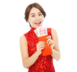 happy  asian woman holding a red envelope with money
