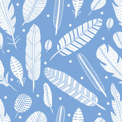 Vector seamless pattern with feathers.