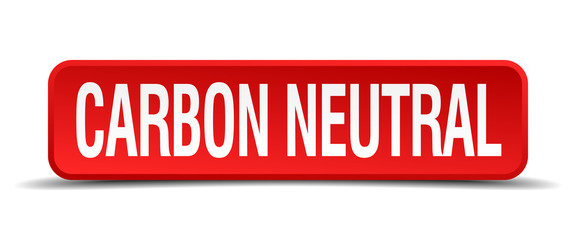 carbon neutral red square button isolated on white background