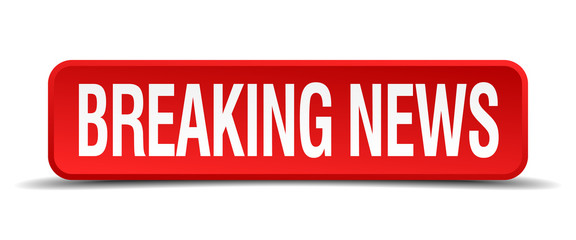 breaking news red square button isolated on white background
