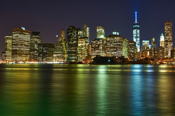Lower Manhattan skyline view at night from Brooklyn
