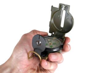 Left hand using compass