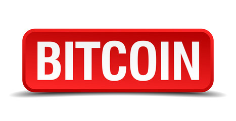 bitcoin red square button isolated on white background