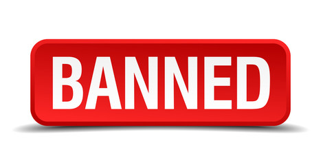 banned red square button isolated on white background