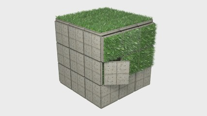 3d cube with grass animation + Alpha