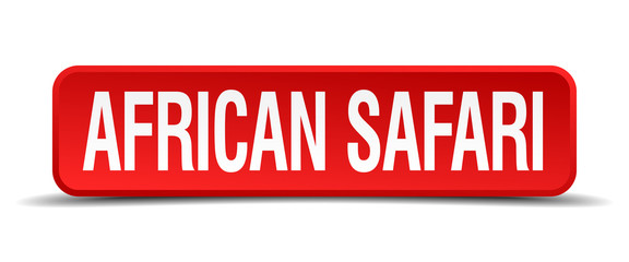 african safari red square button isolated on white background