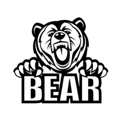 monochrome vector illustration of a bear