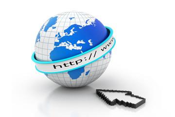 Internet URL with globe