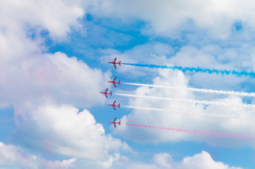 aerobatic team in action