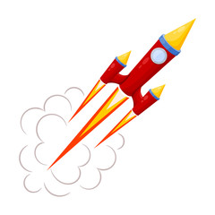 Red Rocket in motion isolated on white background. Vector illust