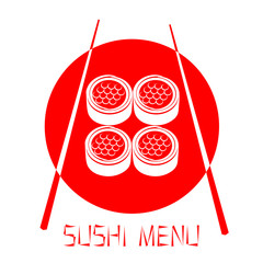 Red logo of the Japanese restaurant, sushi with red caviar isola
