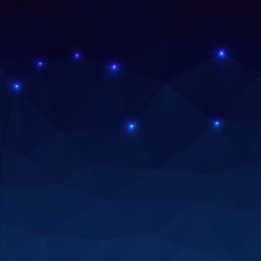 Big Dipper on a dark blue background in the polygonal style. Vec