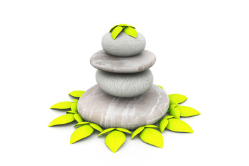 spa stones with green pant, spa background